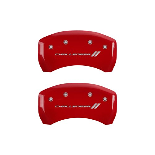 MGP Caliper Covers 12162SCL1RD  'Challenger ll' Engraved Caliper Cover with Red Powder Coat Finish and Silver Characters, (Set of 4) by MGP Caliper Covers