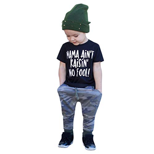 Shi Tou_Children Holiday Baby Clothes,Toddler Kids Baby Girls Boys Outfits Letter T-Shirt Tops+Camouflage Pants Set, [Super Cute] 1-8 Years Old Baby Set 2019 New (Rain The Little Girl And My Letter)