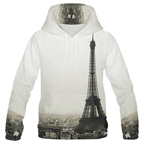 (InterestPrint Custom City Landscape Paris Eiffel Tower Teenager's Pullover Hoodies Sweatshirt M)