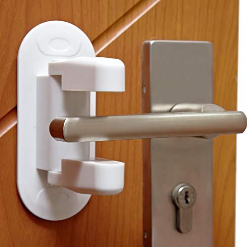 Door Lever Lock (2 Pack) - COZILIFE Door Handle Child Proof Lock with Super Adhesive, Door Locks for Child Safety, Kraft Box Package.