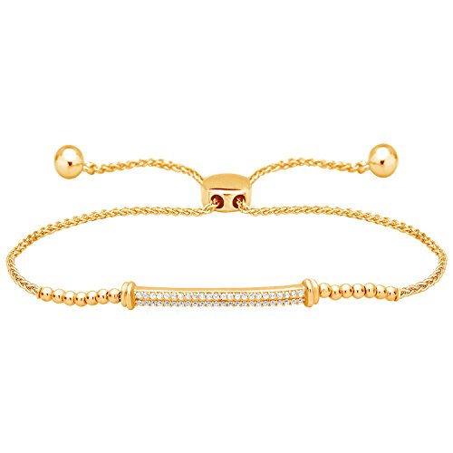 Solid 10k Yellow Gold 1/4 Ct Diamond Bar Bolo Bracelet Adjustable ()