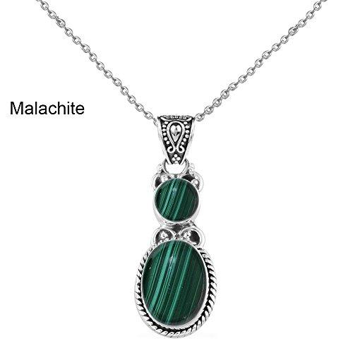 6.15ctw,Genuine Cabachon Malachite & 925 Silver Plated Pendant (Genuine Malachite Pendant)
