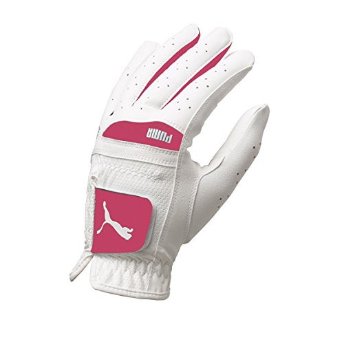 Puma Golf Women's Flexlite Performance Glove, White/Beetroot Purple, Small, Left Hand