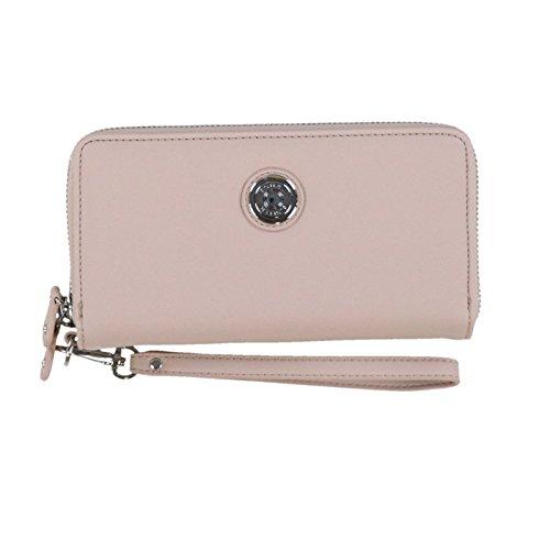 Tommy Hilfiger Womens Logo Double Zip Around Wristlet Wallet