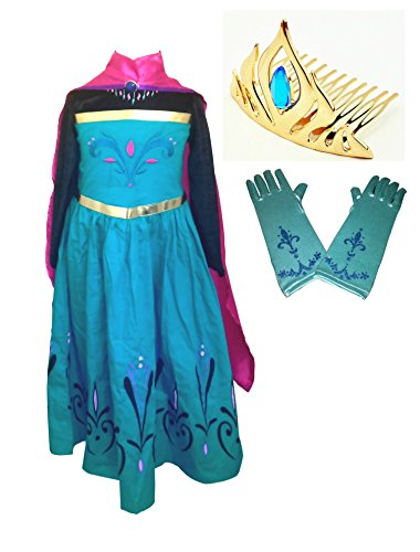 American vogue Elsa Coronation Dress Costume + Cape + Gloves + Tiara Crown (3 Years, Blue) (Frozen Gloves)