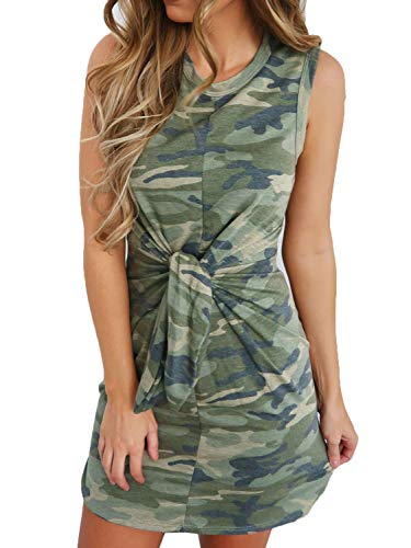 Joeoy Women's Summer Camouflage Print Tie Waist Sleeveless Mini Tank Dress-M