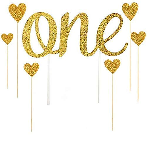 1st Birthday Cake Topper ,With 6 Love Star toppers, First Birthday decorations (First Birthday Cake Topper Gold)