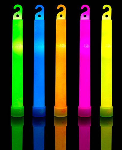 10 Pack Premium Glow Sticks  - Bulk Pack Industrial Grade - 6 Inch Waterproof Bright Light With 12 Hour Duration - Mixed Colors With Strings Included (Premium Pack Tub)