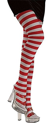Adult Red/White Striped Tights - Adult Std. -