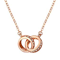 Tianshui Store Small Fresh Double Circle Double Heart Necklace Rose Gold Necklace Gold Color Circle Loop Women Gift