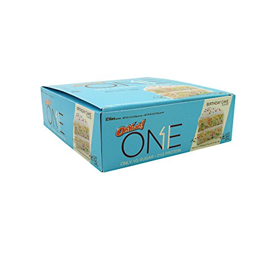 [Oh Yeah! One Bar, Birthday Cake, 12 Count (2.12 oz. Per Bar / 25.44 oz. Per Box)] (Think Thin High Protein Bar Chocolate Fudge)