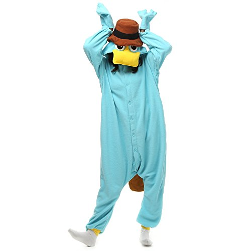 Adults Stitch Onesie Halloween Costumes Sleeping Wear Pajamas (M, Platypus)