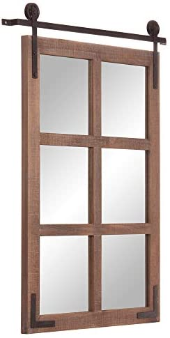 Patton Wall Decor 30×36 Sliding Barn Door Wood Window Wall Mounted Mirror