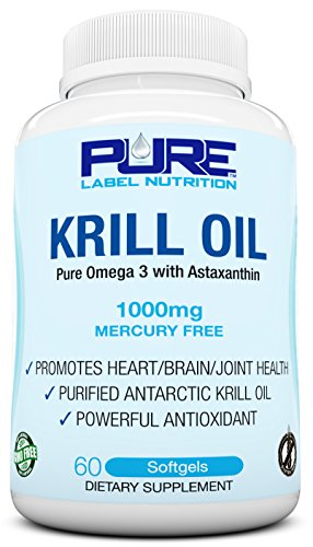 Krill Oil 1000mg with Astaxanthin 60 Caps Omega 3 6 9 - EPA DHA - 100% Purified, Mercury free and Wild Caught - Non GMO - Gluten FREE - Pure Krill Oil - Mega Dose Phospholipids
