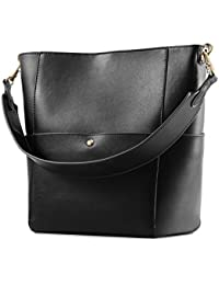 Women's Cowhide Leather Tote Shoulder Bag Hobo Handbag Shoulder Bucket Bag