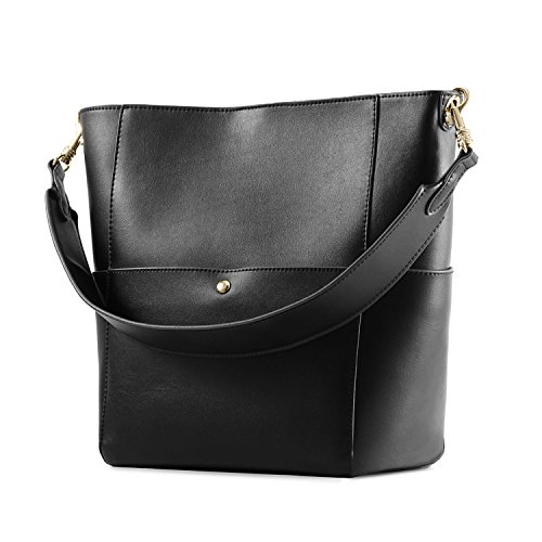 Kattee Women's Cowhide Leather Tote Shoulder Bag Hobo Handbag Shoulder Bucket Bag (Black) ()