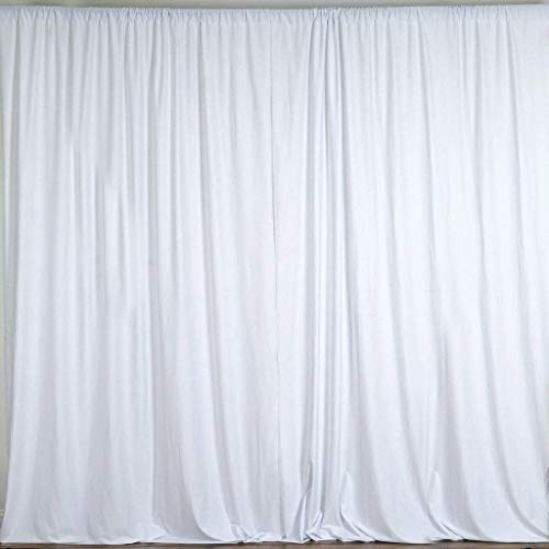 Cheap Backdrop for Weddings Partys Stage Studio Photography Head Shots Window Curtain Drapes, 100% Polyester, Professional Grade, Designer Quality, Single Panel, Hand Made In USA (58″ X 108″, White)