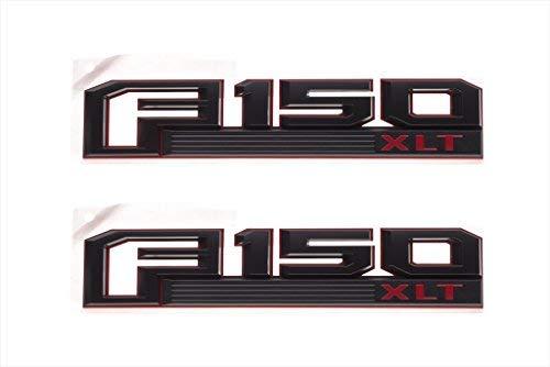 2015-2016 Ford F-150 XLT Red & Black Fender Emblem Nameplates Right Left Set OEM
