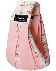 Baby Carrier by Cuby, Natural Cotton Baby Sling Baby Holder Extra Comfortable for Easy Wearing Carrying of Newborn, Infant Toddler and Ideal for Baby Registry (Pink Flamingo) (Pink Flamingo)