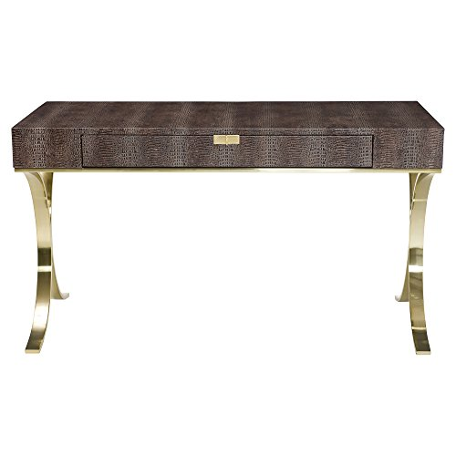 (Kathy Kuo Home Crawford Regency Brown Croc Leather Brass Desk)