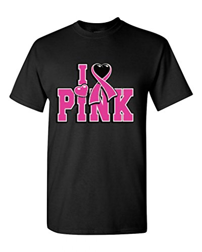 Shop4Ever® I Love Pink T-shirt Breast Cancer Shirts