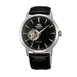 Orient FDB08004B0 - Reloj automático de pulsera para hombre (correa de piel, mecanismo parcialmente visible), color negro