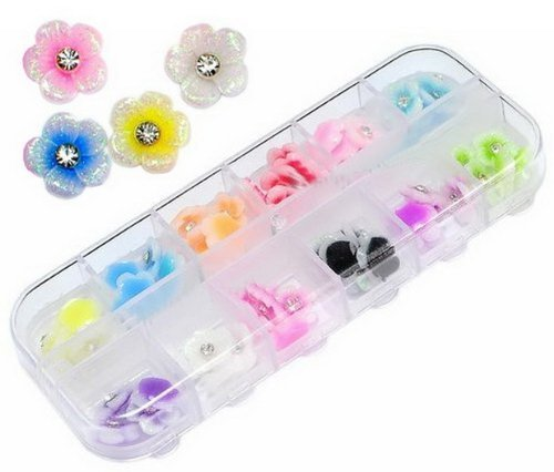 Etopsell 60 Acrylic Flower Rhinestones Nail Art Decoration (Acrylic Flowers)