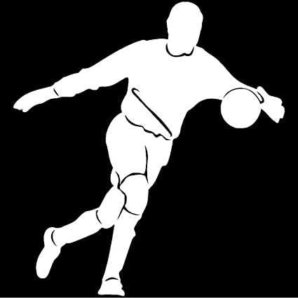 """Soccer player sport decal for car truck laptop window decal sticker 6/"""" White"""
