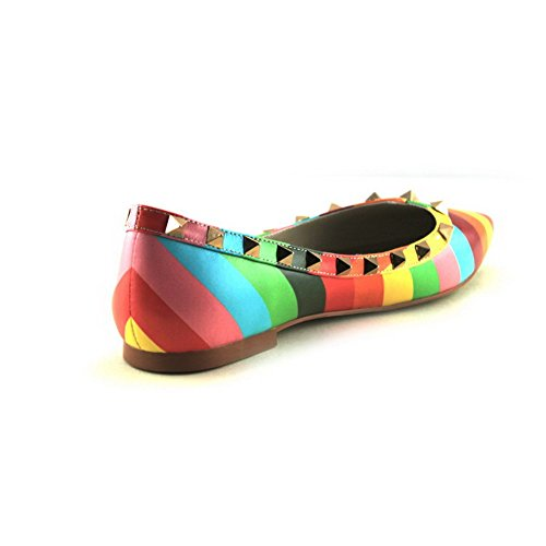 Closed Iridescence Cow Assorted Multicoloured Flats Colors with Heel No Leather AllhqFashion Pointed Womens Toe gZTaT6