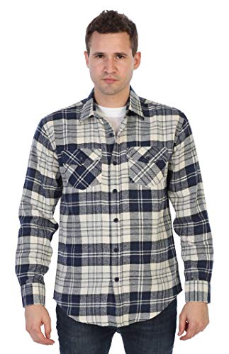 Gioberti Mens Flannel Shirt, Navy/White Checked, Size Large