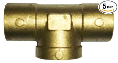 1//2-Inch C x C x FIP Tee 5-Pack Plumbers Choice 92360 Cast Brass Sweat Fitting