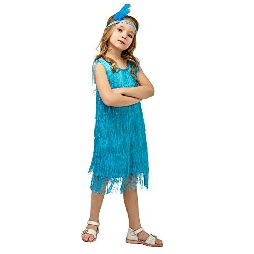 Kids Girl's Fashion Flapper Satin Dress Costumes (S, Blue)