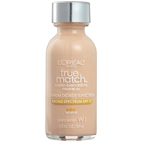 L'Oreal Paris Makeup True Match Super-Blendable Liquid Foundation, Porcelain W1, 1 fl. oz. ()