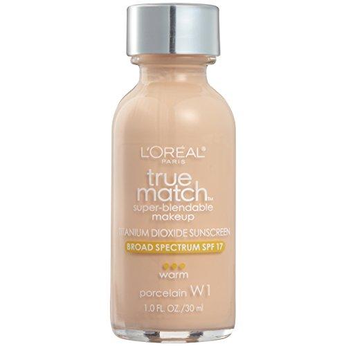 L'Oreal Paris Makeup True Match Super-Blendable Liquid Foundation, Porcelain W1, 1 fl. oz.
