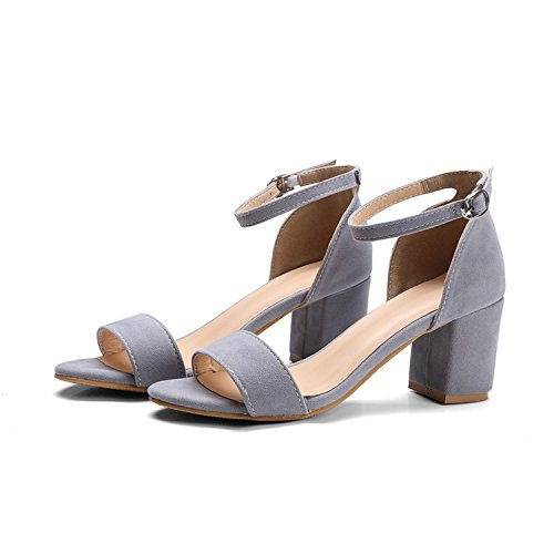 New-Loft Flock high Square Heels Shoes Solid Buckle Women Shoes Sandals Fashion Sexy Large Size (Omaha Bridal Shops)