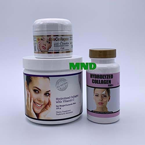 BIO HYDROLIZED Collagen Plus Vitamin C Powder Healthy Hair Pills Elastin Cream