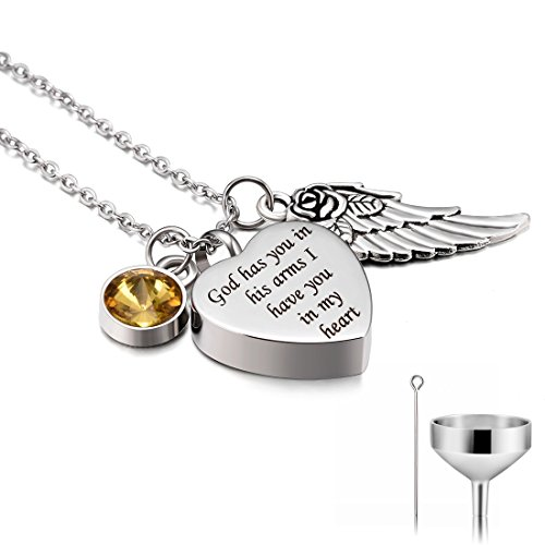 CAT EYE JEWELS Stainless Steel Cremation Keepsake Memorial Urn Necklace with Funnel Kit N011