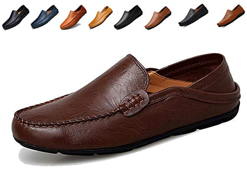 Go Tour Men's Premium Genuine Leather Casual Slip On Loafers Breathable Driving Shoes Fashion Slipper Dark Brown ()