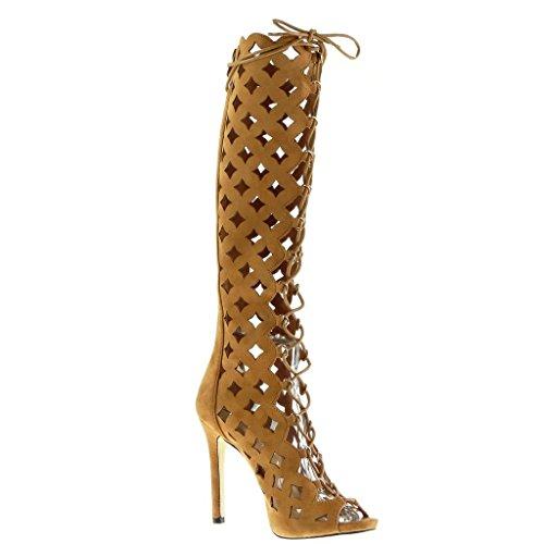 Angkorly - Scarpe da Moda sandali Stivali - Scarponi gladiatore stiletto donna multi-briglia Tacco Stiletto tacco alto 11.5 CM - Cammello