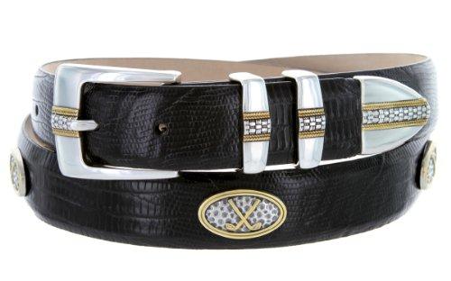 Towne - Men's Italian Calfskin Embossed Designer Dress Belt with Golf Conchos (42 Lizard Black) (Calfskin Embossed Belt)