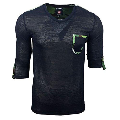 Camouflage Herren T-Shirt Militär Baumwolle Khaki Army US Tarnmuster Outdoor , Größe:S, Farbe:Blau