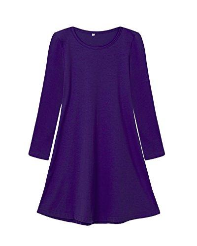 tton Solid Long Sleeve Dress Purple 6T (Purple Soft Dress)