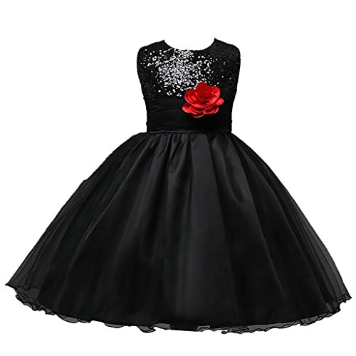 DreamHigh Sequined Flower Girls Party Dress (6, Black)
