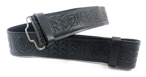 (Black Leather Scottish Highland Kilt Belt With Thistle Embossed Design (Small))