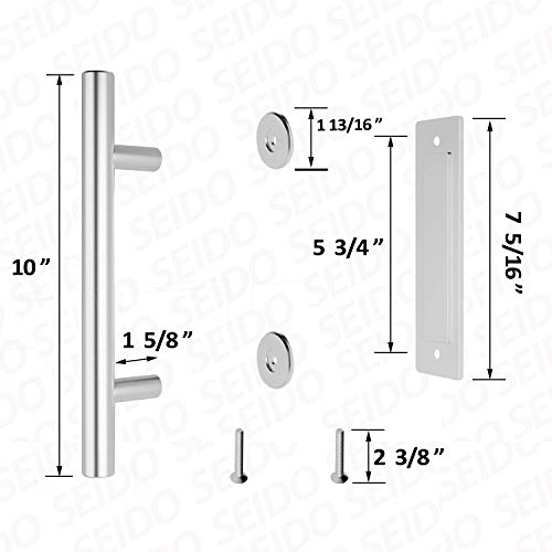 SEIDO Heavy Duty 10 Inches Pull and Flush Barn Door Handles Set, Large Rustic Two-Side Design, for Gates Garages Sheds Furniture, Satin Stainless Steel Finish, Round by SEIDO (Image #1)