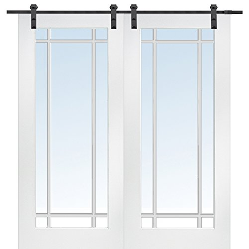 National Door Company Z009630 Primed MDF 9 Lite True Divided Clear Glass 60'' x 80'', Barn Door Unit by National Door Company