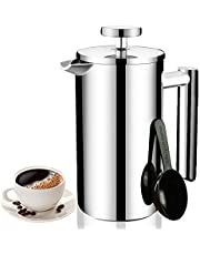 Joyeee Cafetera émbolo de Doble Pared Acero Inoxidable Prensa Francesa 700ml, Cafetera de Pistón Coffee French Press Tea Makers Maquina Café Tetera con Filtro y Cucharas de Medir