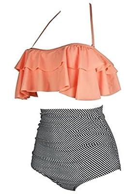 Ebbie Zow Women Halter Vintage High Waist Swimsuit Bathing Bikini Two Piece Swimwear