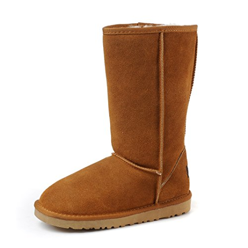 Leather Warm Frosted Boots Winter Tall Women MILANAO Chestnut AzvqtIw