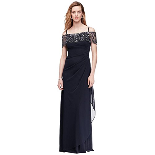 Off-The-Shoulder Mesh Mother Of Bride/Groom Dress With Beaded Flounce Style.
